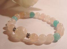 Mala Love Wirst Mala Rose Quartz and by Amazonite semi precious stones by CherylsHealingGems on Etsy, $28.00