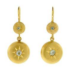 Victorian 18kt Mine Cut Diamond Button Earrings A Brandt and Son -