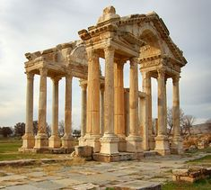 The Temple of Aphrodite is located in ancient Aphrodisias about 70 miles east of Kusadasi and comprises one of the oldest groupings of archeological ruins in all of Turkey. Description from jerryandgod.com. I searched for this on bing.com/images
