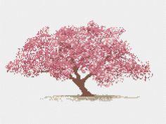 asian cherry blossom tree cross stitch pattern vintage