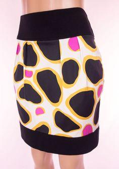 Diane Von Furstenberg Janel Skirt Size 10 M Medium Geometric Silk Stretch DVF #DVF #ALine