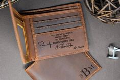 Boyfriend Anniversary Gifts, Boyfriend Gifts, Valentines Day Gifts For Him, Fathers Day Gifts, Personalized Leather Wallet, Personalized Gifts, Long Distance Gifts, Handmade Wallets, Gifts For Husband