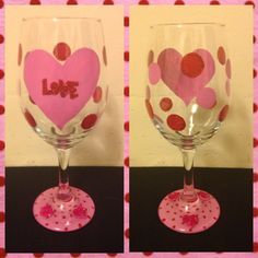 Hand painted by me Valentine wine glass