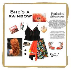 """""""She is rainbow"""" by husejnbasic-belma ❤ liked on Polyvore featuring MSGM, Ted Baker, Simons, Charles by Charles David, Humble Chic, Clinique, Too Faced Cosmetics and Vera Wang"""