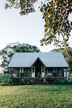 Take out the walls and have it as a picnic house/ folly in the paddock, away from the main house. Australian country cottage, dark grey with huge fig tree. Melbourne interior photographer, Marnie Hawson for Country Style and Fork & Farrow, Nashua NSW