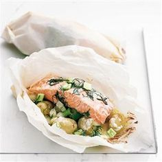 Salmon, dill and Jersey Royal parcels recipe. Baking fish in a parcel seals in more of the flavour and goodness, and the Jersey Royal potatoes turn this easy recipe into a substantial meal.