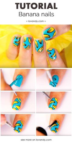 Cute banana nail art tutorial.