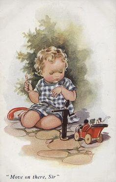Illustration Enfant Illustration by Nina K. Vintage Book Art, Images Vintage, Vintage Pictures, Vintage Cards, Vintage Prints, Vintage Illustration, Children Images, Vintage Postcards, Vintage Children