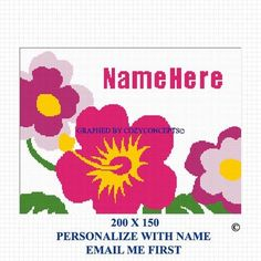 COZYCONCEPTS HIBISCUS FLOWERS PERSONALIZE THIS CROCHET AFGHAN PATTERN GRAPH | CozyConcepts - Patterns on ArtFire