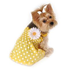 SimplyDog Dot Smocked Sundress for Dogs, Yellow, (Multiple Sizes Available)