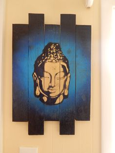 Made to order Buddha graffiti stencil painting on up-cycled pallet wood.  Size: 14 x 20 inches. Yoga Picture: This one is blue but I can make