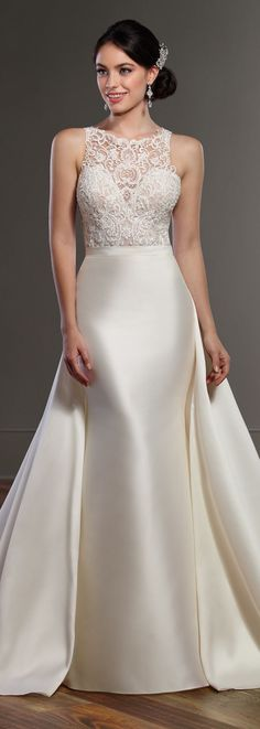 Wedding Dress by Martina Liana Spring 2017 Bridal Collection dresses high neck sophisticated bride Martina Liana Spring 2017 - Belle The Magazine Illusion Neckline Wedding Dress, V Neck Wedding Dress, Perfect Wedding Dress, Dream Wedding Dresses, Bridal Dresses, Wedding Gowns, Wedding Dress Separates, Bridal Separates, Wedding Dress Gallery