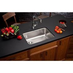Elkay Gourmet Undermount Stainless Steel 25.5 in. 0-Hole Single Bowl Kitchen Sink in Satin-ELUH2317 - The Home Depot