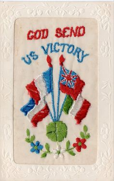 Previously selling as freduby with Positive Feedback of 6100. Embroidered patriotic greetings silk postcard from the First World War with