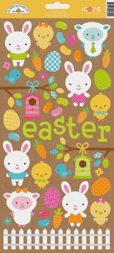 Introducing Easter Parade Collection & Giveaway from Doodlebug Design - CUTE icons cardstock stickers