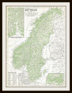 Antique Map - NORWAY & SWEDEN  1911 Map Page by KnickofTime