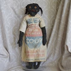 Vintage Primitive Black Cloth Doll with Embroidered and Appliqué Face