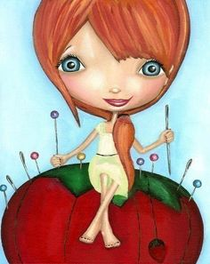 Redhead Seamstress on Pincushion Art Print by thedreamygiraffe