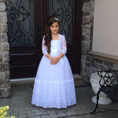 Christina 2 - First Communion Dress with Lace Hem and Long Lace Sleeves