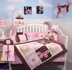 Sweet And Feminine Baby Girls Bedding Sets : Alluring Flower and Butterfly Theme Baby Girls Bedding Set Inspiration in Cloud Wall Decal Girl...