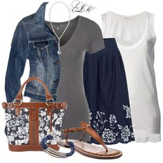 I love the skirt! Grey, denim and navy are a cute color combo.
