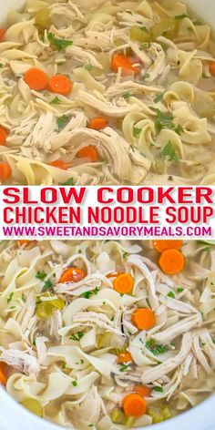 Crockpot Chicken Noodle Soup [Video] - Sweet and Savory Meals - - Crockpot Chicken Noodle Soup is soothing, hearty and perfect for cold weather. Made easily in the slow cooker with simple, real ingredients. Slow Cooker Huhn, Slow Cooker Recipes, Soup Recipes, Cooking Recipes, Healthy Recipes, Chicken Recipes, Healthy Dinners, Recipes Dinner, Easy Meals