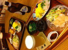 貝柱のお刺身、だし巻き、水菜の冷たいおひたし、煮豆、厚揚げ、バスペールエールとヒューガルデンホワイト 10/9/2012