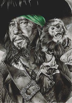 Hector Barbossa by ~FreedomforGoku on deviantART ~ POTC ~ Jack the Monkey