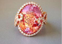 Lyra Morganite and Diamond ring From Yael Designs