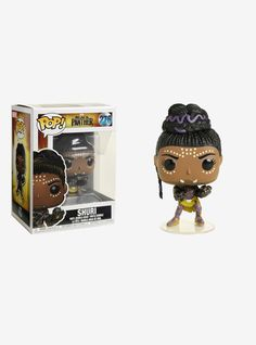"""Shuri, from the upcoming Marvel film  Black Panther , is given a fun, funky, and stylized look as an adorable collectible Pop! vinyl bobble-head from Funko!   Pop! Marvel 276  3 3/4"""" tall  Vinyl  Imported  By Funko"""