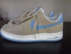Nike Air Force 1 XXV Tan/Light Blue #Nike #AthleticSneakers