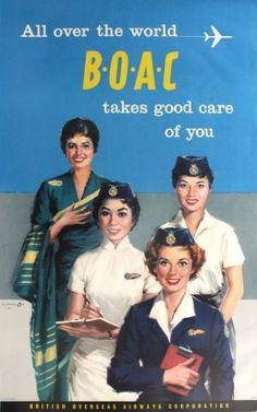 Original Vintage Posters -> Advertising Posters -> BOAC Takes Good Care of You - AntikBar #aviationglamourfashion