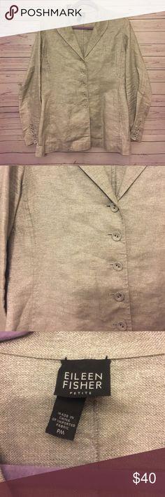 Eileen Fisher Women's Size M Petite Linen jacket Great condition bust 21 in Length 27 in Eileen Fisher Jackets & Coats Blazers