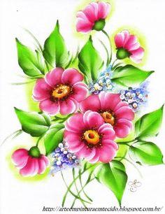 Pintura em Tecido, Como fazer, Passo a passo, Riscos e muitas dicas.: Pintura em Tecido Flores do Campo