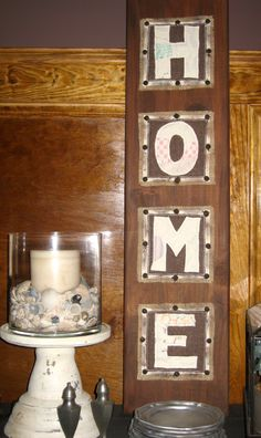 grandma's quilt scraps, burlap and stained wood sign