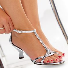 Silver Small Heel Shoes | Tsaa Heel