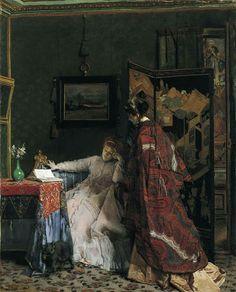 La Visite (The Visit) (c.1866-1869).Alfred Émile Léopold Stevens (Belgian, 1823-1906). Oil on canvas.Dallas Museum of Art.