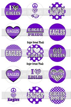 INSTANT DOWNLOAD Purple white Eagles School by sugarnspicebow