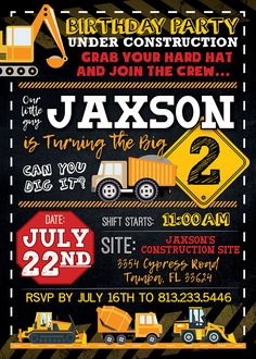 12 Best Construction Birthday Invitations Images