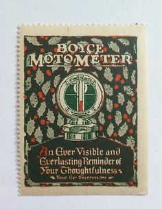 Old Cinderella Poster Stamp- Automobile Boyce Motor Meter