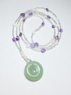 Green Aventurine and Amethyst Necklace with Mother of Pearl
