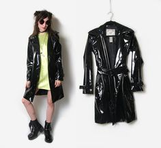 Black PVC Trench Coat // Black Trench Coat / by HowToCatchaGhost