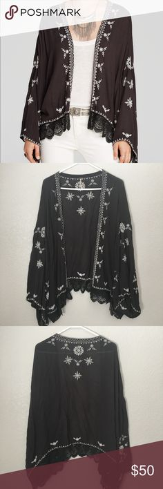 Free People Embroidered Kimono Jacket Black Embroidered kimono Jacket in washed black. Perfect for festivals! In wonderful condition -- no rips or pulls in the embroidery or lace trim. Purchased new and worn once, ready for a new home.   100% rayon and has a beautiful drape! All over embroidery. Open front. Free People Tops