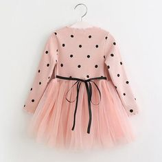 Fall Pink Dress with Black Polka Dots and Tulle Skirt