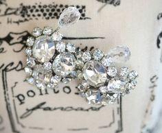 Earrings Rhinestone Jewelry Vintage Button Stud ClipOn by kimkdep, $35.00
