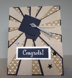 The Stamp Cycle: Sunburst Thinlit Graduation Card
