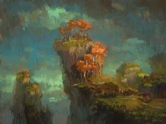 """""""Fall Cliff"""" Thanks to everyone who came to see the live stream. I thought it would be weird(-er) to let other people see what I paint but…"""