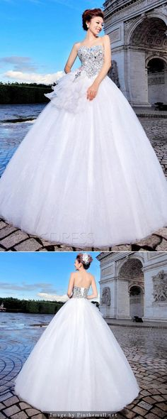 Awesome Ball Gown Sweetheart Beading Ruggles Floor-length Wedding Dress