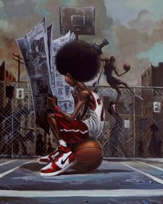 Sport Page by Frank Morrison CodeBlack Art Black Love Art, Black Girl Art, Black Is Beautiful, Art Girl, Arte Do Hip Hop, Hip Hop Art, African American Art, African Art, Frank Morrison Art