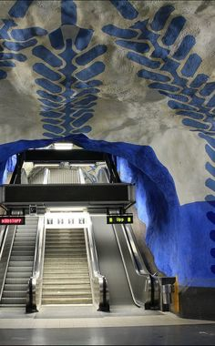 The Most Inspiring Metro Stations around the World, T-Centralen Station, Stockholm (Sweden)  www.sl.se #transportation #trains #stockholm #art #blue